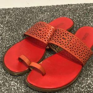 Michael Kors orange sandal single toe flat